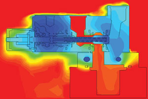 Thermal Image of JASC's Water Cooled Three-Way Purge Valve