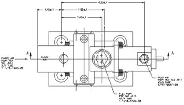 Three-way purge valve technical drawing