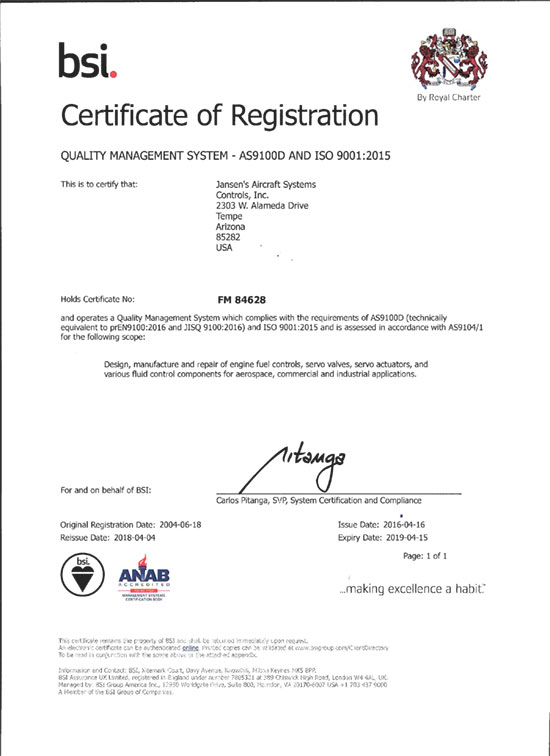 JASC\'s ISO 9001:2015 and AS9100D Certificate of Registration