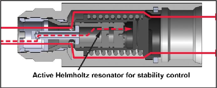 Liquid fuel check valve with a helmhotz resonator